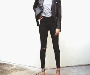 leather jacket, look, and style image
