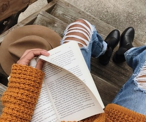autumn, outfit, and books image