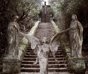 angels, stone steps, and crypts image