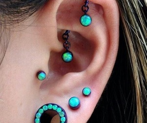 green, piercing, and Tunnels image