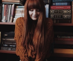 books, clothes, and red hair image