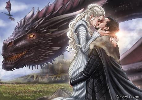 jon snow, daenerys targaryen, and game of thrones image