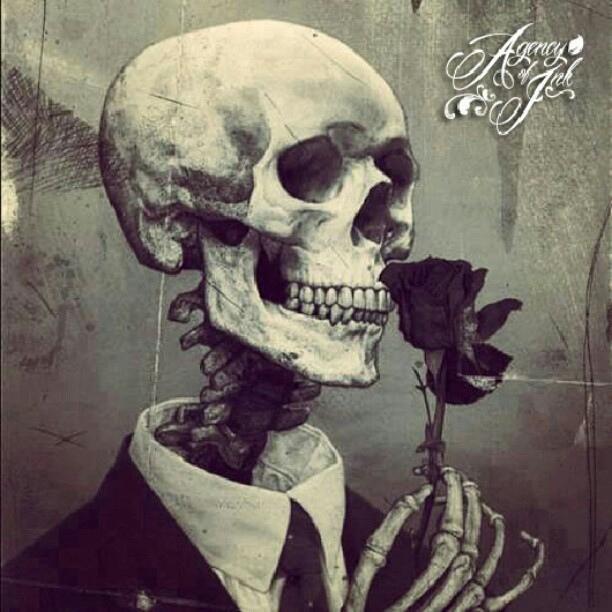 rose, skull, and skeleton image