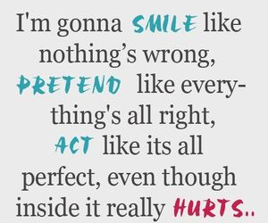 hurt, smile, and pretend image