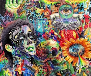 art, trippy, and skull image