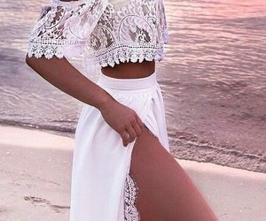 white, fashion, and beach image