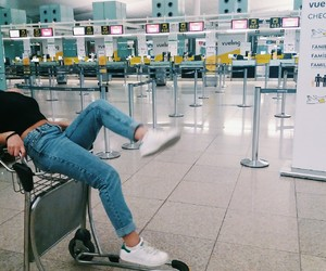 airport, girl, and travel image