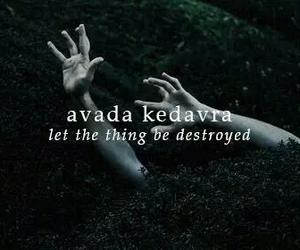 harry potter, avada kedavra, and spell image