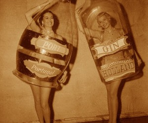 girl, vintage, and alcohol image