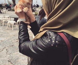 cat, hijab, and black image