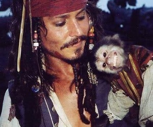 johnny depp, monkey, and jack sparrow image