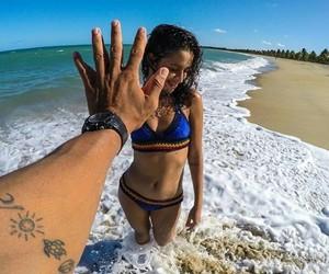 beach, outfit, and bikini image