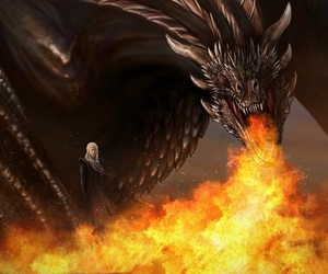 dragons, war, and game of thrones image