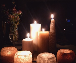 autumn, candles, and crystal image