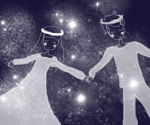 cartoon, couple, and galaxy image