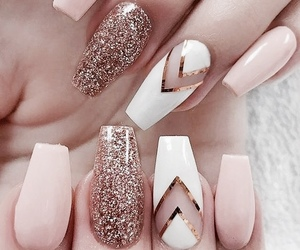 glitter, nails, and gold image