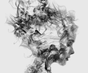 art, smoke, and black and white image