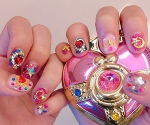 pink, nails, and anime image