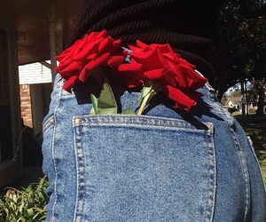 rose, flowers, and jeans image