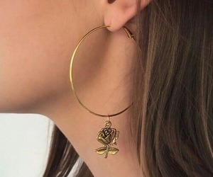 earring, fashion, and rose image