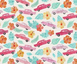 car, floral, and flower image