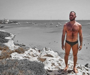 black, hairy chest, and sea image