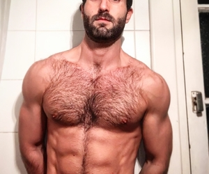 bathroom, bearded, and daddy image