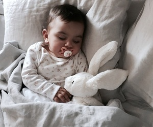 baby, bunny, and girl image