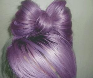 hair, purple, and bow image