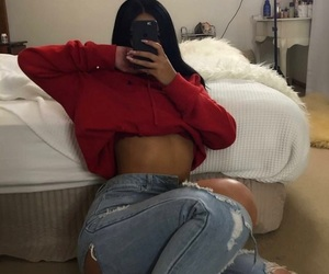 jeans, outfit, and red image