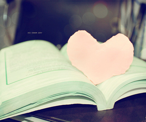 book, heart, and green image