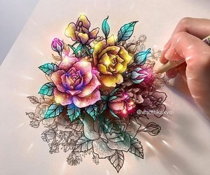 drawing, flowers, and sketch image