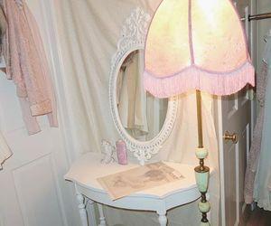 bedroom, pink, and vanity image