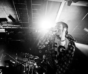 band, lights, and black and white image