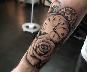 art, clock, and flowers image