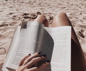 beach, book, and hipster image