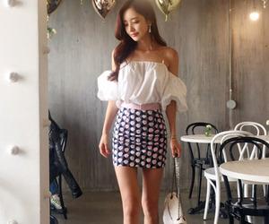 fashion, mini skirt, and model image
