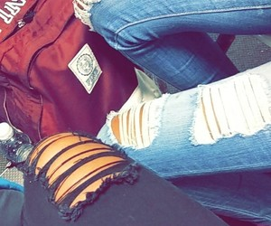 backpack, bff, and black jeans image