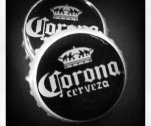 black and white, beer, and corona image