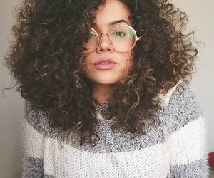 beauty, curly hair, and glasses image