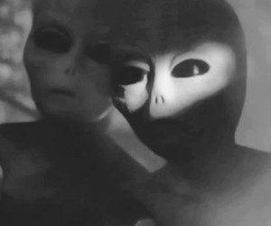 alien, humans, and black and white image