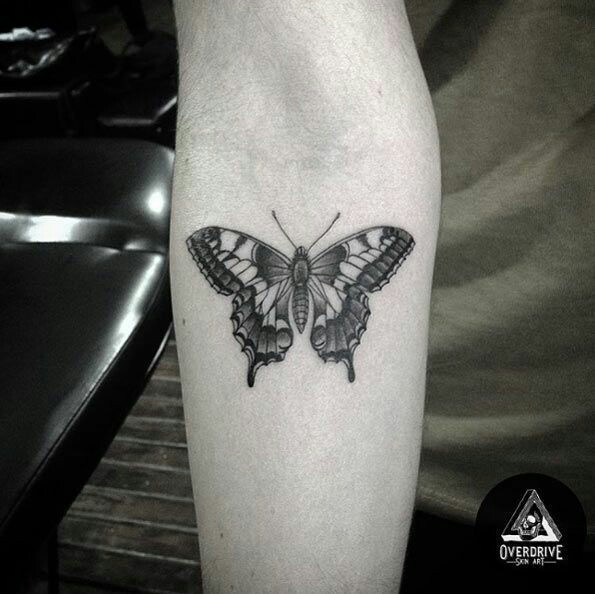 tattoo, butterfly, and forearm image
