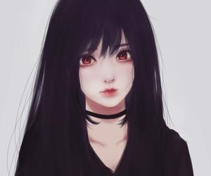 anime, girl, and black image