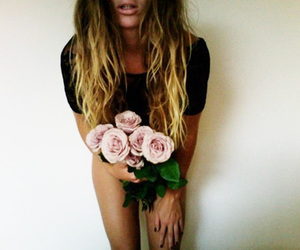 blonde, long hair, and flowers image