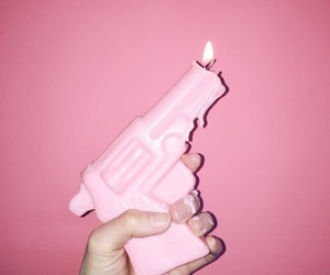 pink, gun, and fire image