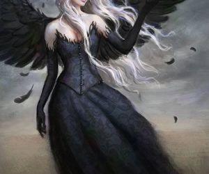 angel, dark, and black image