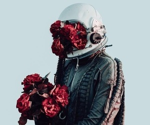flowers, astronaut, and grunge image