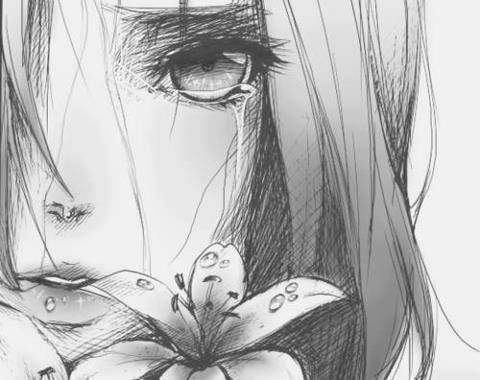 anime, flowers, and sad image