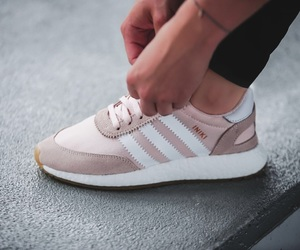 adidas, pink white, and iniki image