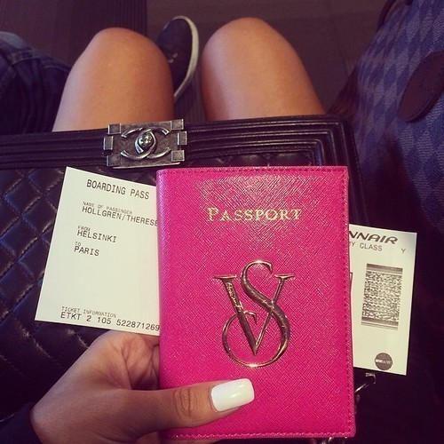 pink, travel, and passport image